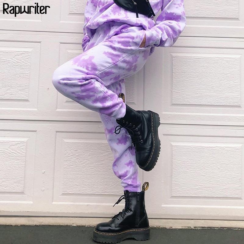 Rapwriter Fashion Tie Dye Printed High Waist Pants Streetwear 2020 Summer Joggers Women Loose Trousers Sweatpants Capris Bottom
