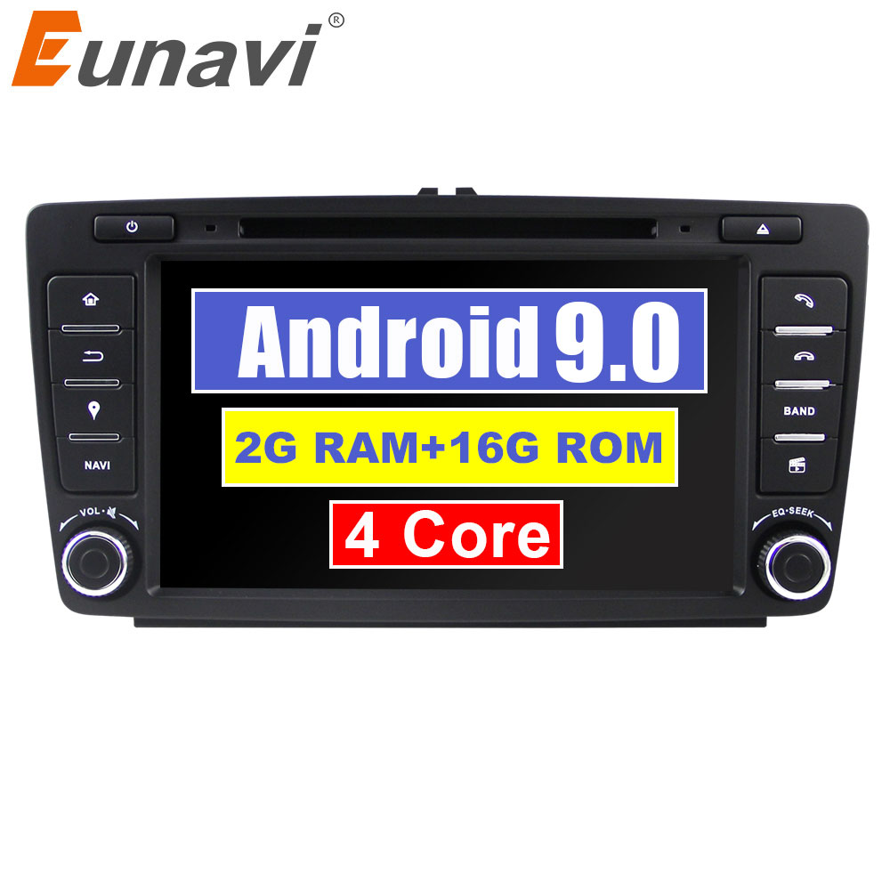 Eunavi 2 din Android 9.0 Car dvd radio Player GPS Navigation For Skoda Octavia 2014 2015 A7 Stereo Multimedia 8 inch in dash image