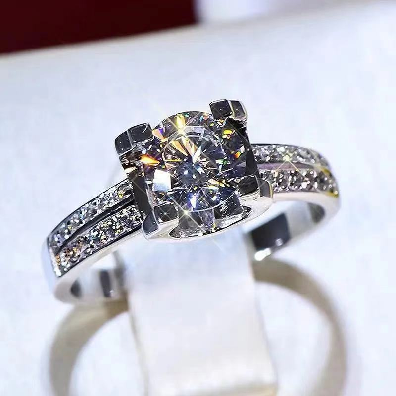 100% Real 18K Gold Ring for Women Natural AAA Moissanite Jewelry Gemstone...