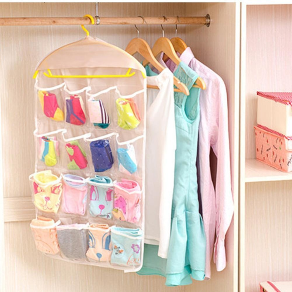 Clothing Hanger Closet Shoes Underpants Storage Bag 16 Pockets Foldable Wardrobe Hanging Bags Socks Briefs Practical Organizer