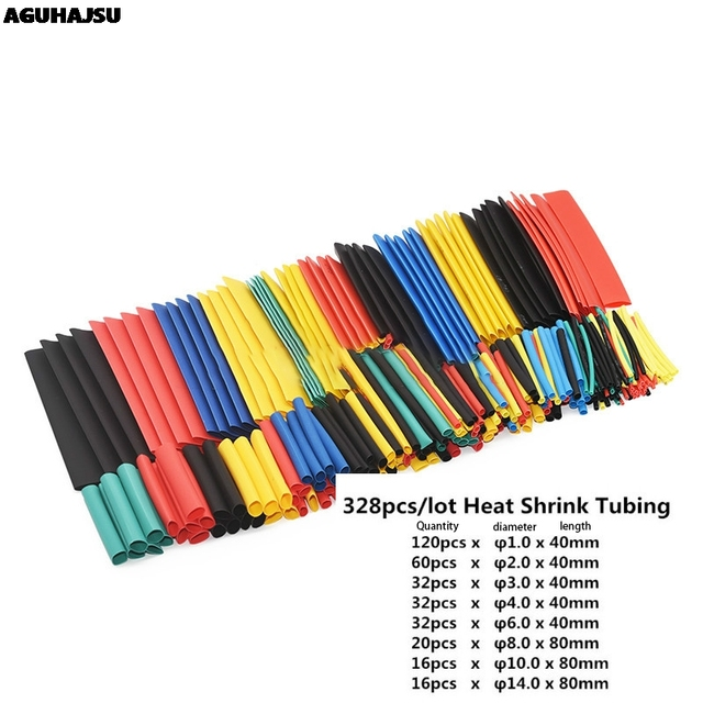 127Pcs / 328Pcs Car Electrical Cable Tube kits Heat Shrink Tube Tubing Wrap Sleeve Assorted 8 Sizes Mixed Color 1