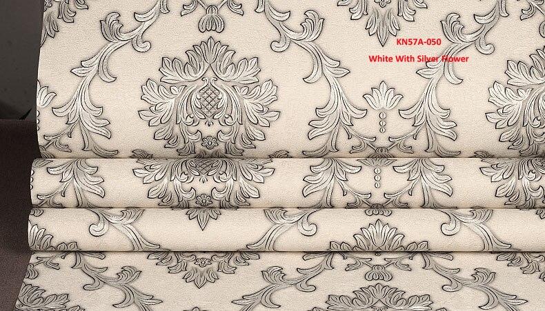 Blanc avec fleur en argent, papier peint multicolore Design moderne rouleau de papier peint décor à la maison