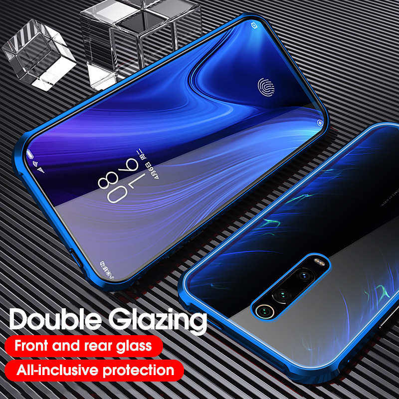 Metal Magnetic Adsorption <font><b>Case</b></font> For <font><b>Samsung</b></font> Galaxy <font><b>A50</b></font> A70 M20 A8 Plus Tempered <font><b>Glass</b></font> Cover For Redmi Note 7 8 Pro Mi A2 A3 Lite image