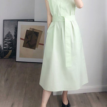 Women Dress Shortsleeve Lace Up Midi Long Robe 100% Cotton For Spring and Summer