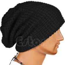 Унисекс женщины мужчины трикотаж мешковатая шапка берет зима теплый большой лыжи шапка шапка