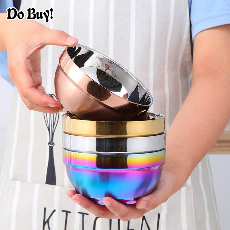 Large Noodle Bowl Stainless Steel Bowls Non Slip Double Layer Soup Dumpling Bowls Hot Pot Tableware Kitchen Utensils