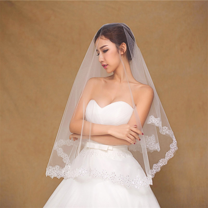 White/Ivory Wedding Vail 1.5M Short Veil Wedding For Women Bridal One-layer Appliqued Voile Mariee Wedding Accesorios Boda