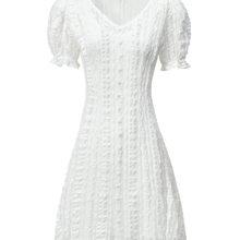 Vestido de verano sencillo y fresco, burbuja, manga larga, media, 2020