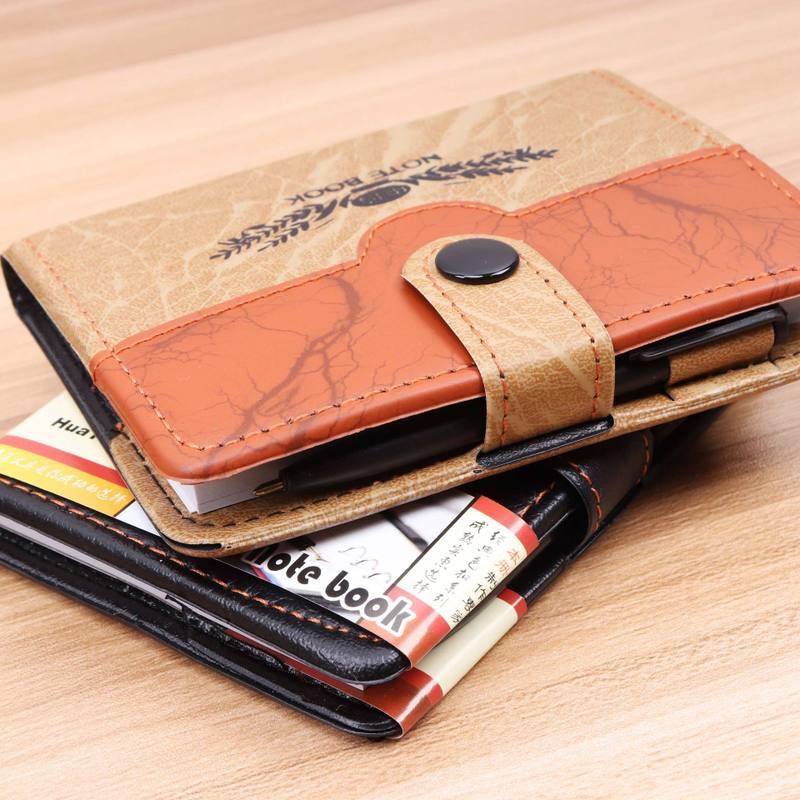 Soft Artificial Leather Notebook Mini Pocket Size 11x8 Cm Portable Business Memopad Lines Format School Diary Journal Planner