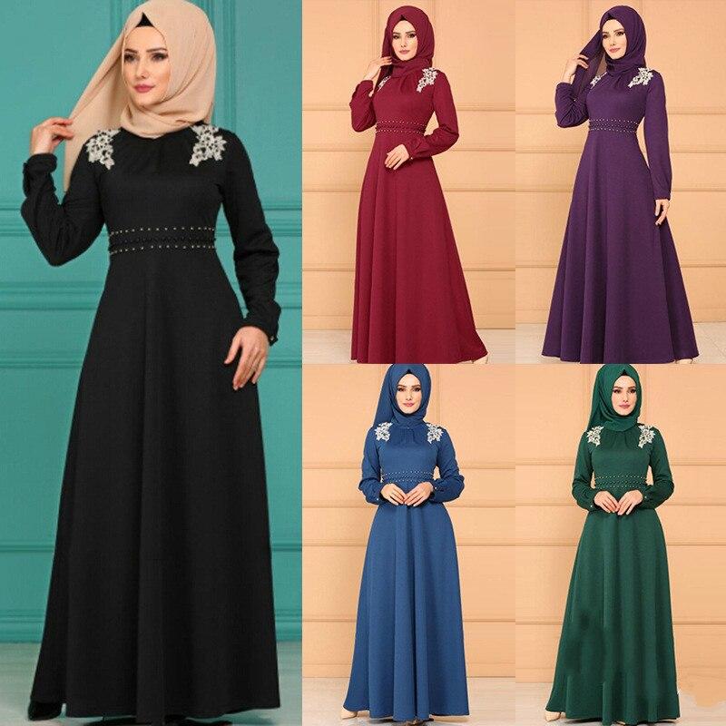 2019 New Fashion Style Elegent Muslim Women Beauty Plus Size Long Abaya S-XXL
