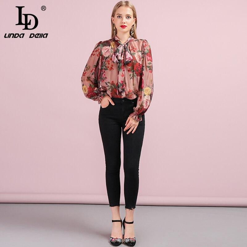 LD LINDA DELLA mode de piste automne chemise en soie femmes manches papillon Floral imprimé nœud papillon élégant Vintage lâche Blouse - 5