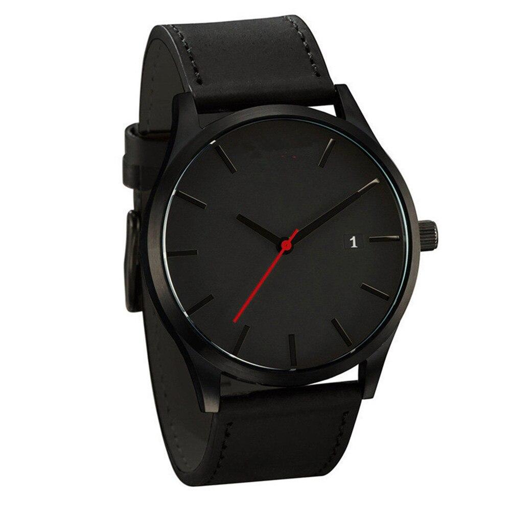 Luxury Watch Men Leather Ultra-thin Stainless Steel Black Bracelet Wristwatches Male Watch Clock Reloj Hombre Relogio Masculino 1