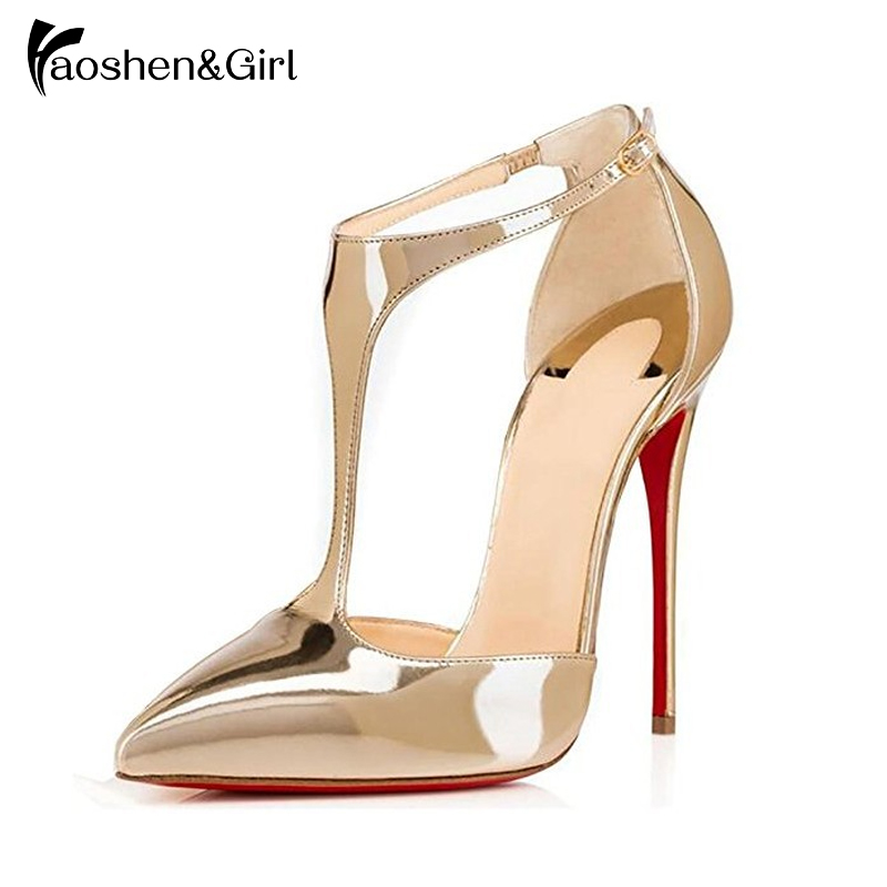 Haoshen&Girl Women Pointed Toe T-strap Stiletto Heel Shoes 12/10/8 CM Ankle Buckle Strap Pumps Daily Dress Shoes Plus Size34-45