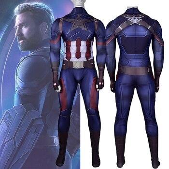 Captain America Cosplay Costume Zentai Superhero Battle suit Men's Bodysuit Adults One-Piece Jumpsuits - discount item  30% OFF Costumes & Accessories
