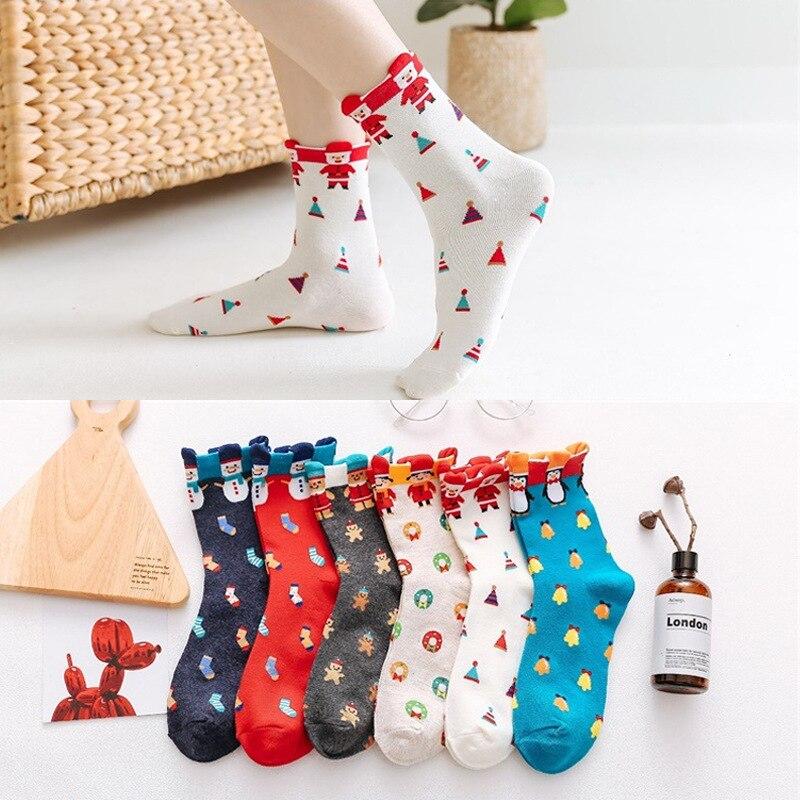 10 пар Хлопковых Носков женские осенне-зимние носки рождественские Снеговики носки с пингвинами повседневные праздничные подарки