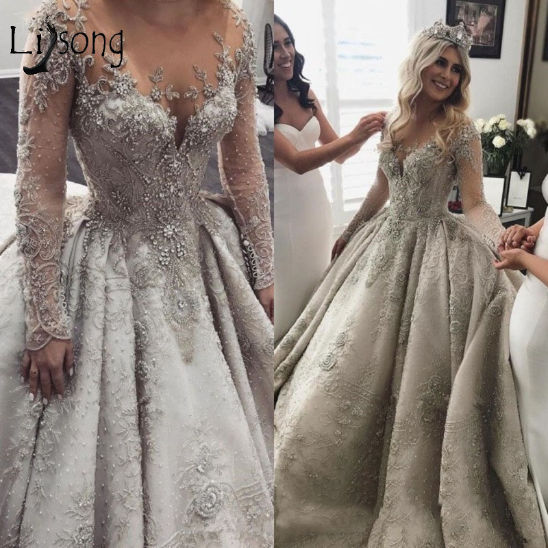 Luxury Crystal Beaded Wedding Dresses With Full Sleeves 3D Lace Appliques Bridal Gowns Dubai Sparkle Bridal Dresses