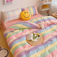 Kawaii Fashion Rainbow Bedding Set 100% Cotton Flat Bed Sheet And Pillowcases Luxury Korean Style Princess Full Queen Bed Sets