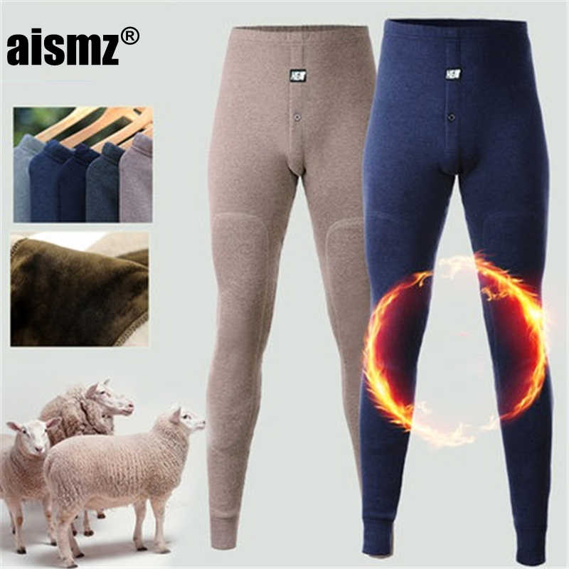 Aismz New thermal underwear pants thick wear in very cold Winter underpants for Russian Canada and European men Protect the knee