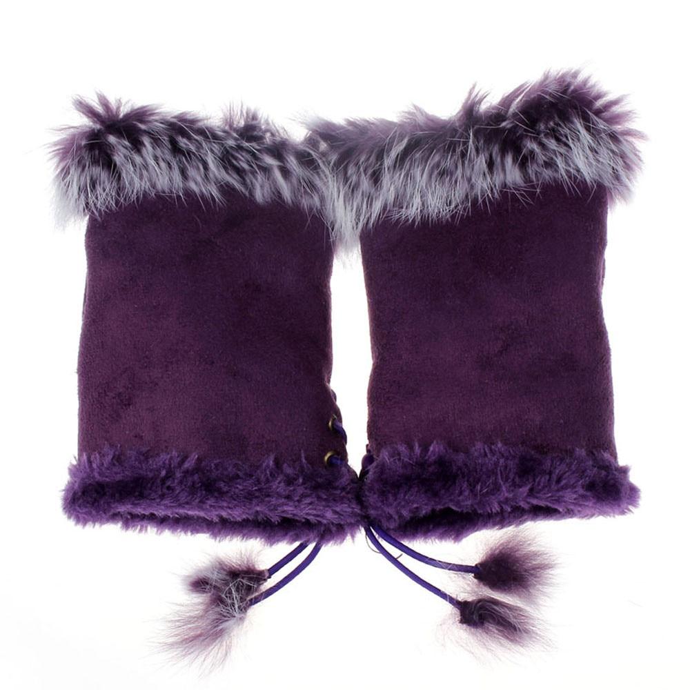 Faux Rabbit Fur Gloves For Women Fashion Wrist Fingerless Gloves Winter Half Finger Fitness New Arrival Gants Femme  912#3