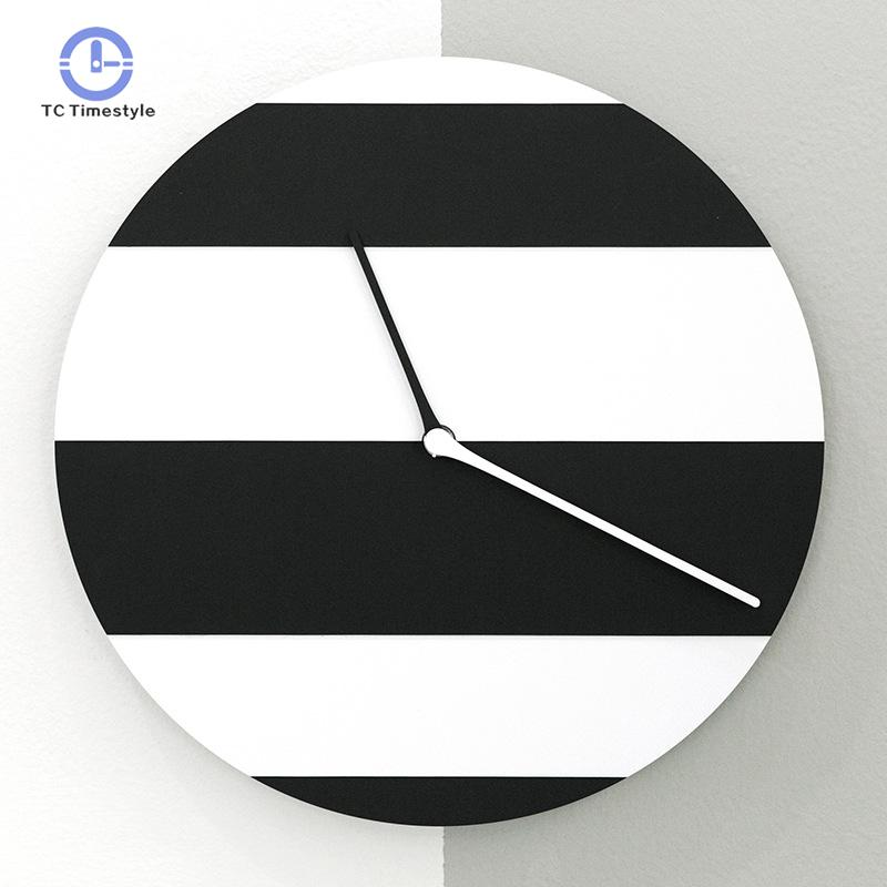 Wall Clock 12 Inch Black And White Striped Simple Personality Home Clock Bedroom Kitchen Fashion Creative Gift