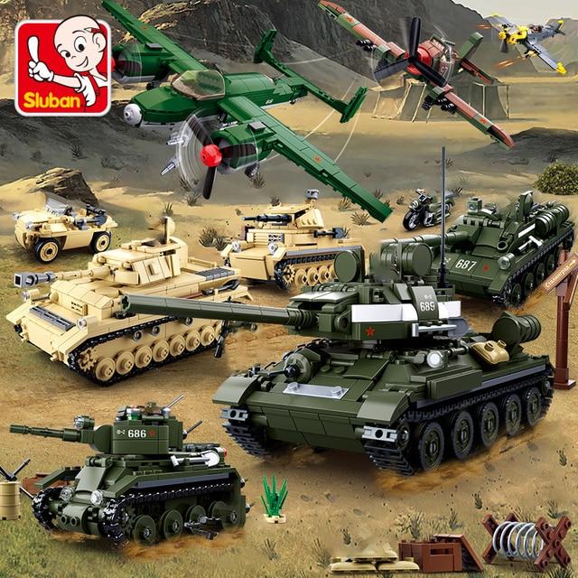 Military Tank Car Truck Plane Spaceship WW 2 Army Figures Series Set Soldier Weapon Building Blocks Bricks Model Toys Boy Gifts