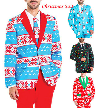 Vadim Gothic Men Christmas Casual Blazer Suit Funny Blazer Party Suit Long Sleeve Slim Fitness Snowflake Print Male Xmas Blazer