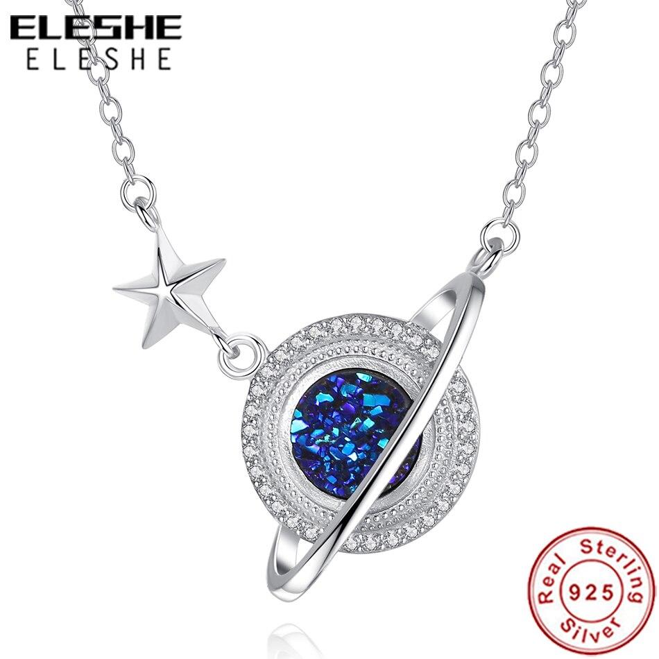 ELESHE 925 en argent Sterling chaîne Collier avec cristal CZ bleu planète pendentif Collier pour femmes mode bijoux Collier Femme