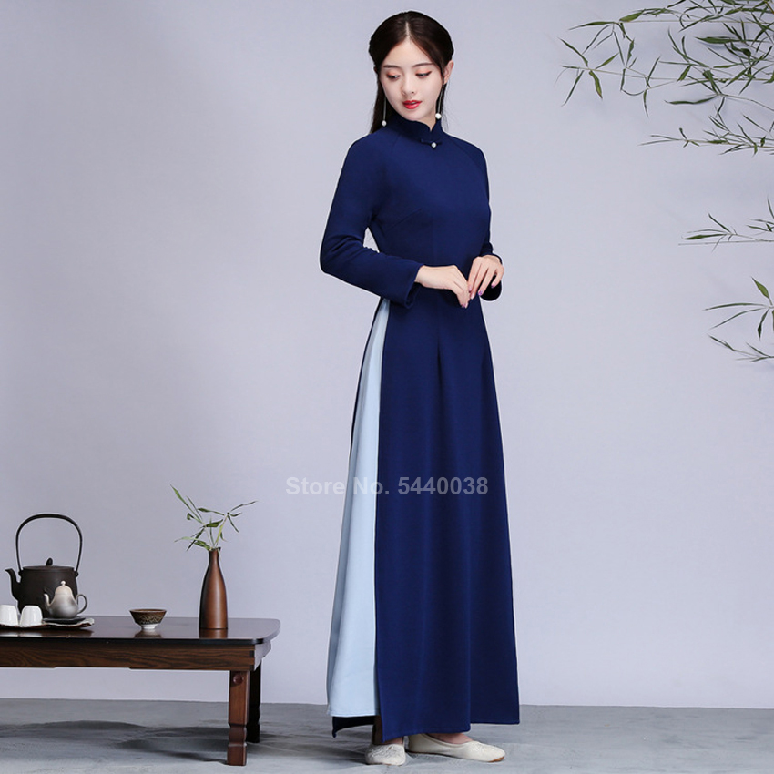 Oriental Vietnam Ao Dai Patchwork Tight Bodycon Women Cheongsam Qipao Dress Traditional Chinese Costumes New Year Wear
