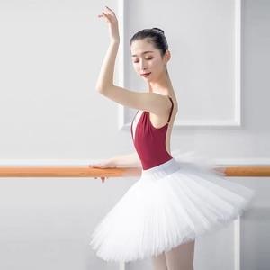 Image 3 - Professional Ballet Swan Lake Tutu White Black Elastic Waist Adults Ballerina 5 Layers Hard Mesh Tulle Skirt Tutus With Briefs