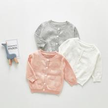 Angoubebe B93T18 Baby Girls Knit Long Sleeve Buttons Closure Bolero Shrug Pink Eyelet Air Conditioning Cardigan Sweater