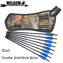 6/12pcs 20inch Archery Crossbow Bolts Carbon Arrow With Quiver Bag Rubber Vanes OD8.8mm Hunting Accessories