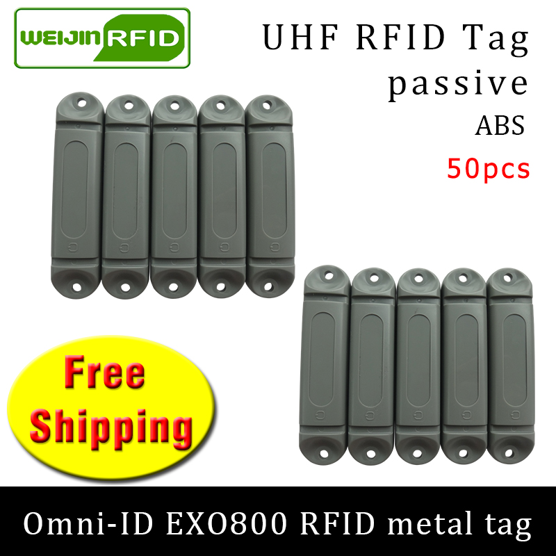 UHF RFID Anti-metal Tag Omni-ID EXO800 915m 868m Impinj Monza4QT 50pcs Free Shipping Durable ABS Smart Card Passive RFID Tags