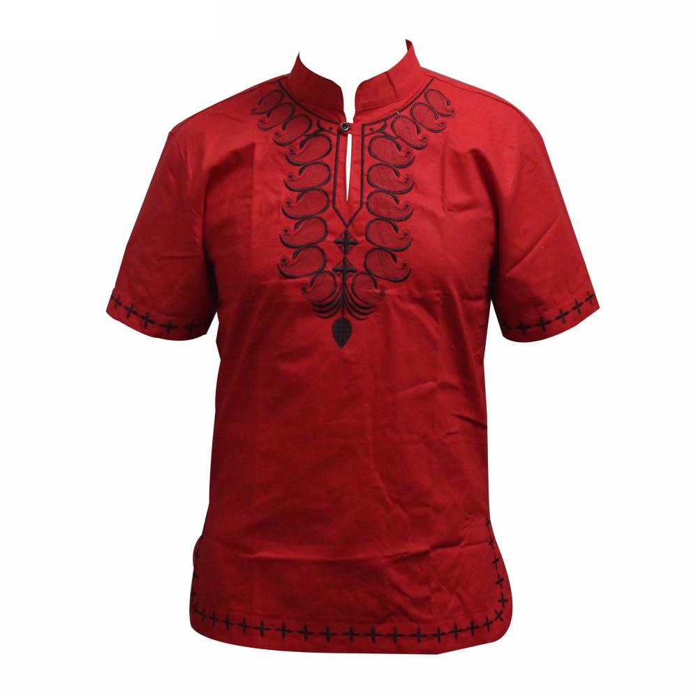 Ropa Hombre Unisex Cotton Pan-African Embroidery Fashion Dashiki Shirt Traditional Nigeria Native Ankara T-shirt рубашка мужская