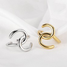 Silvology 925 Sterling Silver U Shape Rope Knot Rings Elegant Line Design Quality Irregular Rings for Women 925 Korea Jewelry(China)