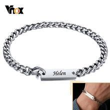 Vnox personalizuj nazwę kubańska bransoletka dla kobiet mężczyzn, pszenica Miami Curb linki, nigdy nie znikną opaska ze stali nierdzewnej, prezent dla niego jej