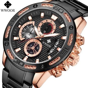 WWOOR 2020 New Fashion Mens Watches Top Brand Luxury Big Clock Sport Chronograph Quartz Watch Men Military Waterproof Wristwatch