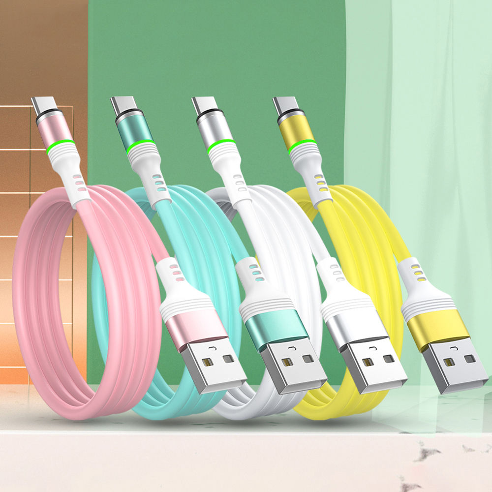 Candy Colors Liquid Silicone Magnetic Cable Micro USB Type C Phone Charger Fast Charging Data Cord For Samsung Huawei iPhone 11 image