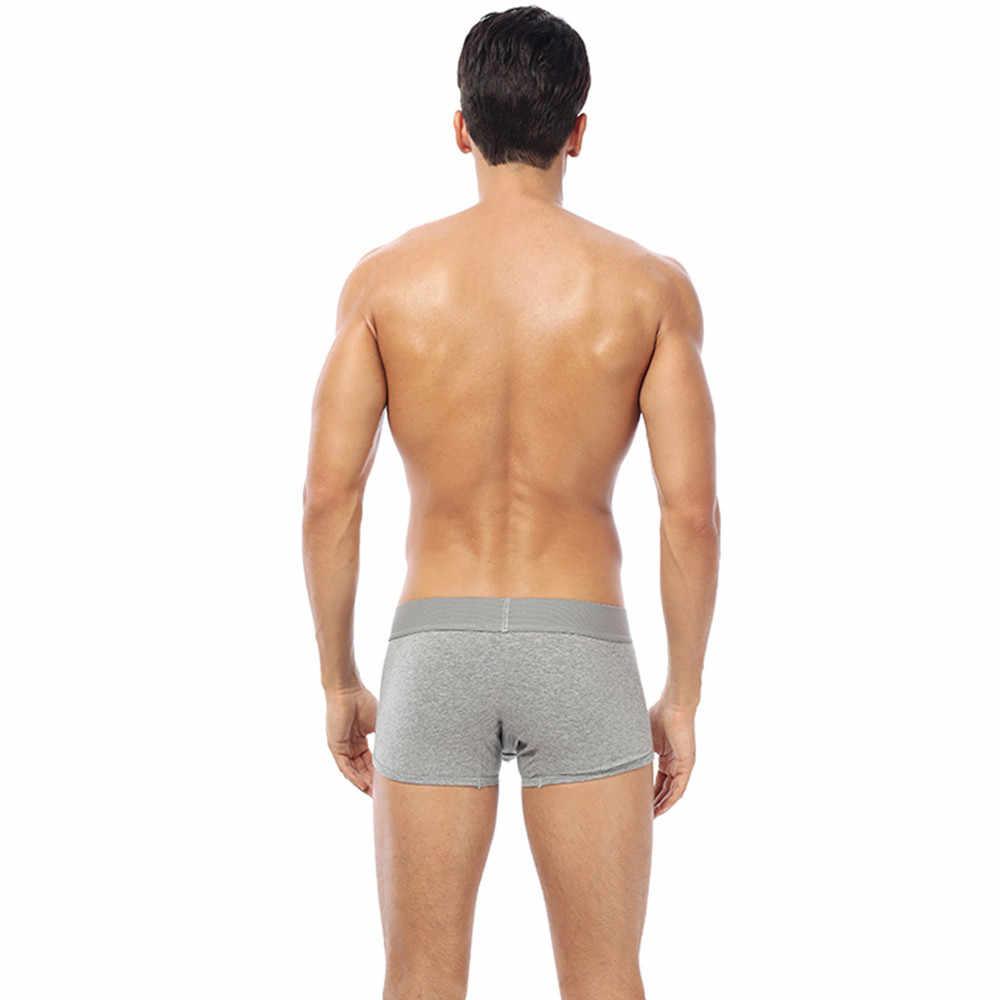 Sous-vêtements sexy pour homme Boxershorts Shorts sport confortable lettre imprimé Boxer culotte patchwork Shorts poche de renflement caleçon