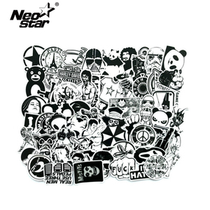 Image 1 - 60Pcs/Lot Black and White Mix Stickers For Laptop Moto/Car Cool Sticker Graffiti Bomb Decals Stickers Skateboard Luggage 2019