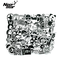 Autocollants mixte noir et blanc, étiquette Cool pour ordinateur portable, Moto/voiture, étiquettes de bombe Graffiti, Skateboard 2019, 60 pièces/lot