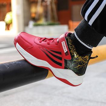 Moda dla dzieci buty do koszykówki odporne na zużycie trampki chłopcy dzieci buty sportowe antypoślizgowe obuwie Enfant Tenis koszyk Sport tanie i dobre opinie KevinSmith Unisex CN (pochodzenie) Wszystkie pory roku RUBBER