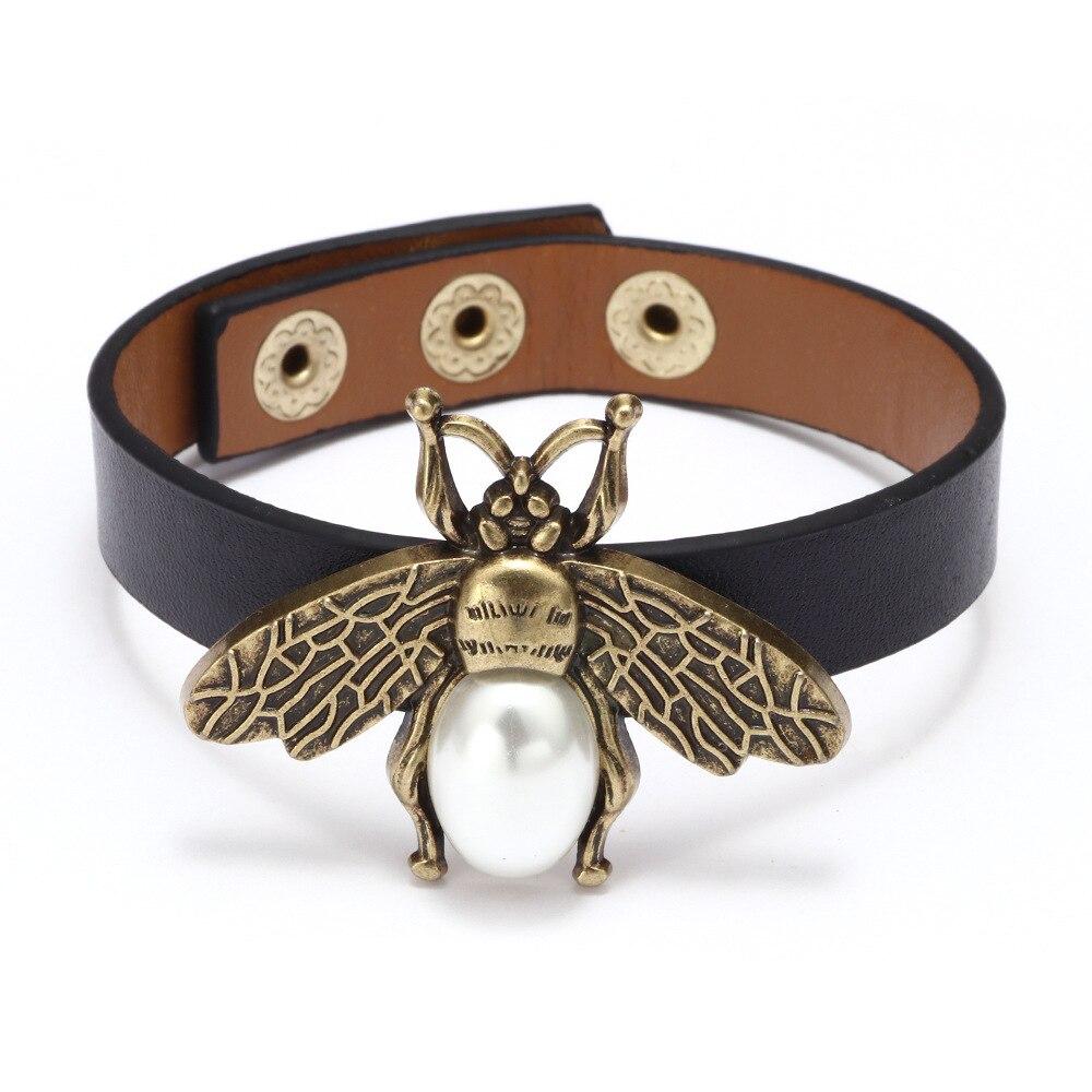 Kirykle-Bracelet d'abeille rétro en cuir de perles noires, Bracelet portefeuille rétro, Bracelets pour femme, cadeau pour filles