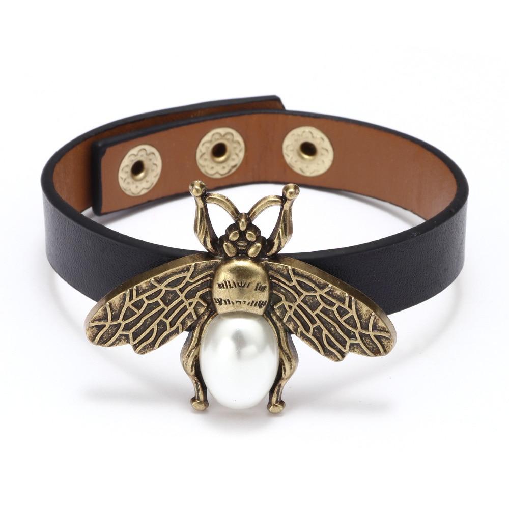 Kirykle Bee Leather Bracelets For Women Retro Leather Pearl Bead Black Wrap Bracelet Wristband Bangle Bracelet Gift for Girls