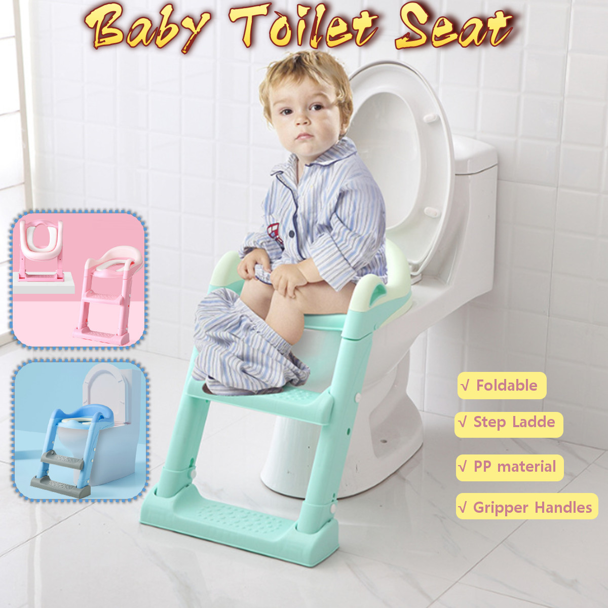Folding Baby Potty Infant Kids Toilet Training Seat with Adjustable Ladder Portable Urinal Potty Training Seats for Children