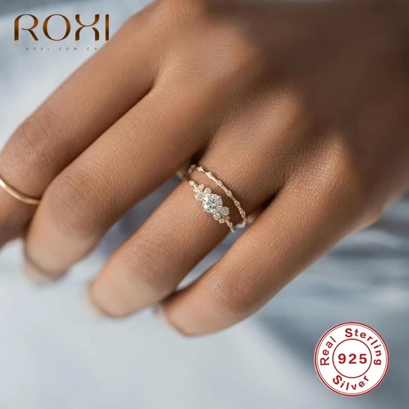 ROXI – bague flocons de neige ronde en cristal pour femmes, bague de mariage romantique en argent Sterling 925, bijoux de fiançailles