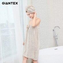 GIANTEX נשים רחצה מיקרופייבר אמבט מגבות למבוגרים חלוק אמבטיה שיער מגבת סט מפית דה ביין toallas דה ducha badhanddoek