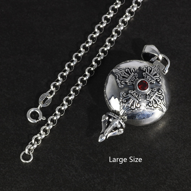 Real 925 Sterling Silver Buddha Pendant Openable Six Words Carving Inlaid Red Zircon Vintage Antique Style Buddhist Jewelry