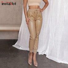 InstaHot jesienne spodnie ze sztucznej skóry spodnie Slim Khaki czarne spodnie z wysokim stanem damskie 2020 modne spodnie Cargo Streetwear Leisure Capris