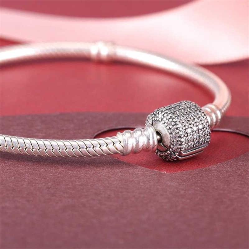 BBee ฐาน CHAIN Charm Pave-ใน Zircon หัวเข็มขัดงูสร้อยข้อมือสำหรับ Pandora ลูกปัด DIY Charms ผู้หญิงของขวัญสร้อยข้อมือเครื่องประดับ