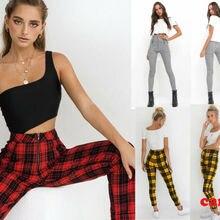 Новые женские клетчатые Узкие повседневные женские брюки с высокой талией на молнии Узкие брюки-карандаш красные желтые черные и белые